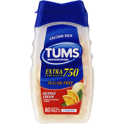 Tums Extra Strength 750 Sugar Free Orange Cream Antacid/Calcium Supplement Chewable Tablets - 80 CT