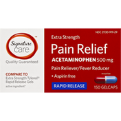 Signature Pain Relief, Extra Strength, 500 mg, Gelcaps