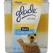 Glade Candle, 2 in 1, Sunny Days, Clean Linen
