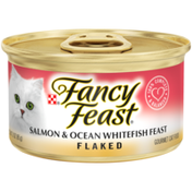 Purely Fancy Feast Wet Cat Food, Flaked Salmon & Ocean Whitefish Feast