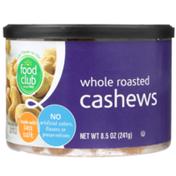 Food Club Roasted Whole Cashews