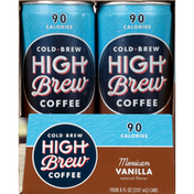 High Brew Coffee, Mexican Vanilla, Cold-Brew, 4 Pack