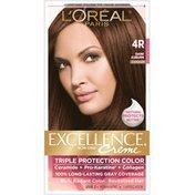 Excellence Triple Protection Color Creme, Level 3 Permanent, Warmer, Dark Auburn 4R
