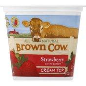 Brown Cow Yogurt, Cream Top, Strawberry on the Bottom