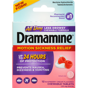 Dramamine Motion Sickness Relief, 25 mg, Raspberry Cream Flavored, Chewable Tablets