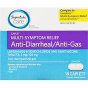 Signature Care Anti-Diarrheal/Anti-Gas, Multi-Symptom Relief, Caplet