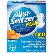 Alka-Seltzer Plus Cold Orange Zest Effervescent Tablets Multi-Symptom Relief