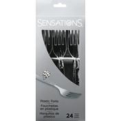 Sensations Plastic Forks, Hammered, Silver Metallic