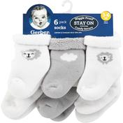 Gerber Socks, 3-6 M, 6 Pack, Wiggle Proof
