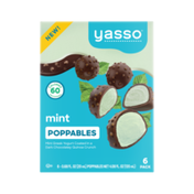 Yasso Mint is queen of the freezer and chocolate is top of the food chain, so we've figured out a way to deliver a 60 calorie , perfectly snackable combo of the two – mint frozen Greek yogurt wrapped in a chocolatey coating then sprinkled in quinoa crunch.