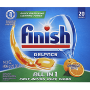 Finish Automatic Dishwasher Detergent, Orange Scent, Gelpacs