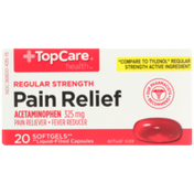 TopCare Regular Strength Pain Relief Acetaminophen 325 Mg Pain Reliever-Fever Reducer Softgels
