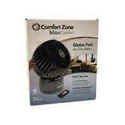 "Comfort Zone WOR 6"" Black Oscillating Globe Fan"