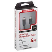 Mobilcharge Charge/Sync Cable, USB C to C, 4 Feet
