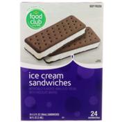 Food Club Vanilla Ice Cream Sandwiches With Chocolate Wafers