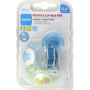 MAM Pacifier & Clip, Animal Collection, 0-6 Months, Value Pack
