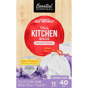 Essential Everyday Tall Kitchen Bags, Drawstring, Odor Protect, Lavender Scent