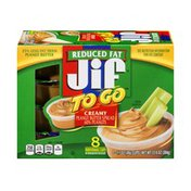 Jif To Go Natural Creamy Peanut Butter Spread Reduced Fat - 8 CT