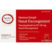 Signature Nasal Decongestant, Maximum Strength, 30 mg, Tablets
