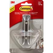 3M Command Double Hook, Decorative, Brushed Nickel, Large