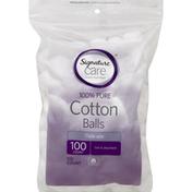 Signature Care Cotton Balls, 100% Pure, Triple Size