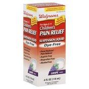 Walgreens Pain Relief, Suspension Liquid, Dye-Free, Grape Flavor