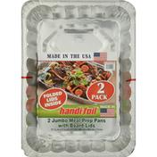 Handi-Foil Meal Prep Pans with Board Lids, Jumbo, 2 Pack