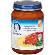 Gerber Spaghetti in Tomato Sauce with Beef Purees Dinner