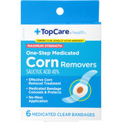 TopCare Corn Removers, One-Step Medicated, Maximum Strength, Clear Bandages
