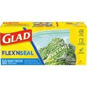 Glad Flex N Seal Zipper Freezer Storage Plastic Bags - Quart
