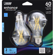 Feit Electric Light Bulb, LED, Daylight, Clear, 9 Watts, 2 Packs