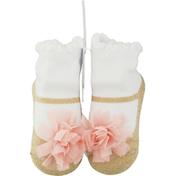 Mud Pie Baby Sock, Mesh Pom Gold