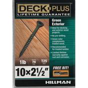 Deck Plus Screws, Exterior, Green, 2-1.5 Inch