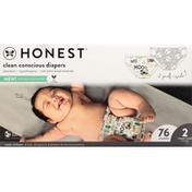 Honest Tea Diaper, Barnyard Babies/Pandas, Tummy Timer, Size 2 (12-18 lbs)