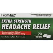 HealthA2Z Headache Relief, Extra Strength, Tablets