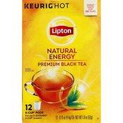 Lipton Black Tea, Premium, Natural Energy, K-Cup Pods