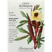 Botanical Interests Seeds, Okra, Red Burgundy