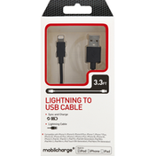 Mobilcharge Lightning to USB Cable, 3.3 Feet