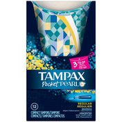 Tampax Pearl Tampax Pocket Pearl Compact Plastic Tampons, Regular Absorbency, Unscented 12 Count TO GO PK  Feminine Care