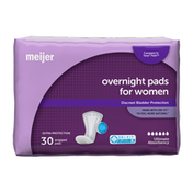 Meijer Incontinence Bladder Control Pads,  Overnight Ultimate Absorbency