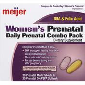 Meijer Prenatal Combo Pack, Daily, Women's Prenatal, Tablets/Softgels