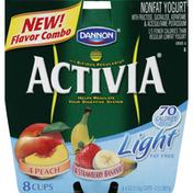 Activia Yogurt, Light Fat Free, Peach, Strawberry Banana