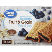 Great Value Cereal Bars, Fruit & Grain, Blueberry
