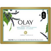 OLAY Fresh Outlast Purifying Birch Water & Lavender Beauty Bar 3.17 oz, Pack of 4