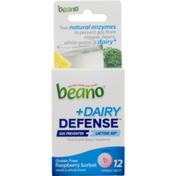 Beano +Dairy Defense Food Enzyme Dietary Supplement Chewable Tablets Gluten Free Raspberry Sorbet