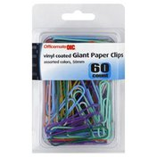 Oic Paper Clips, Giant, Vinyl Coated, Assorted Colors