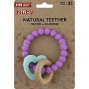 Nûby Natural Teether, Wood + Silicone, 3+ Months