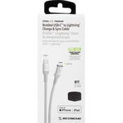 Scosche Charge & Sync Cable, Braided USB-C to Lightning, Silver, 8 Feet