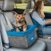 Kurgo Grey Heather Dog Booster Seat for Cars With Seat Belt Tether
