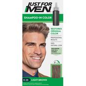 Just For Men Haircolor Kit, Shampoo-In Color, Single Application, Light Brown, H-25